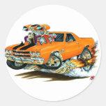 Camión Naranja-Negro 1970 del EL Camino Pegatina Redonda