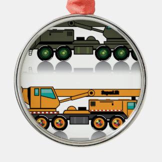 Camión pesado militar de la grúa adorno navideño redondo de metal