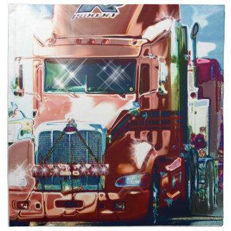 Camión pesado rojo grande para los camioneros y lo servilleta de papel