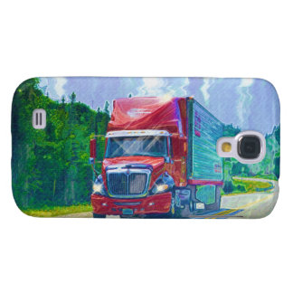 Camión rojo 2 del cargo del conductor de camión de