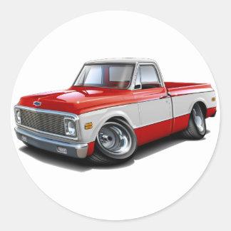 Camión Rojo-Blanco 1970-72 de Chevy C10 Etiquetas