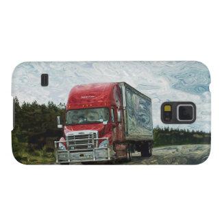 Camión rojo del cargo del conductor de camión de l carcasa para galaxy s5