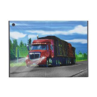 Camión rojo del cargo del conductor de camión de l iPad mini funda