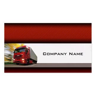 Camión rojo del fondo rojo en la tarjeta del tarjetas de visita