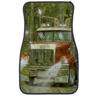 Camión rojo del transportador de la excavadora, alfombrilla de auto