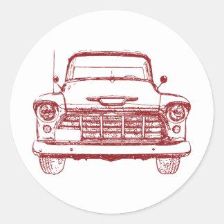 Camión rojo del vintage pegatina redonda
