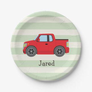 Camión rojo; Rayas verdes en colores pastel Plato De Papel De 7 Pulgadas