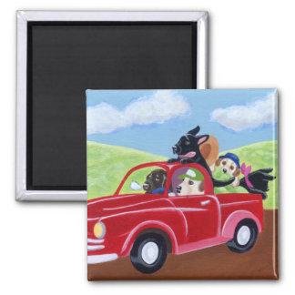 Camión rojo y Labradors Imán Cuadrado