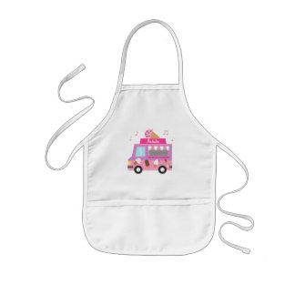Camión rosado púrpura dulce del helado para los delantal infantil