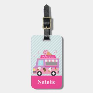Camión rosado púrpura dulce del helado para los etiquetas para maletas