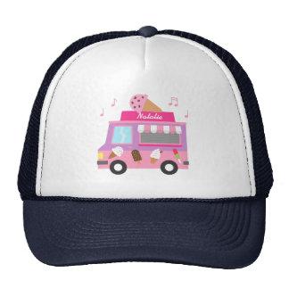 Camión rosado púrpura dulce del helado para los gorros bordados