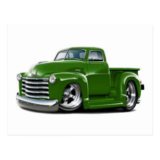 Camión verde 1950-52 de Chevy Tarjeta Postal