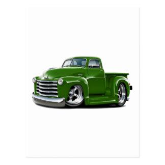 Camión verde 1950-52 de Chevy Tarjetas Postales