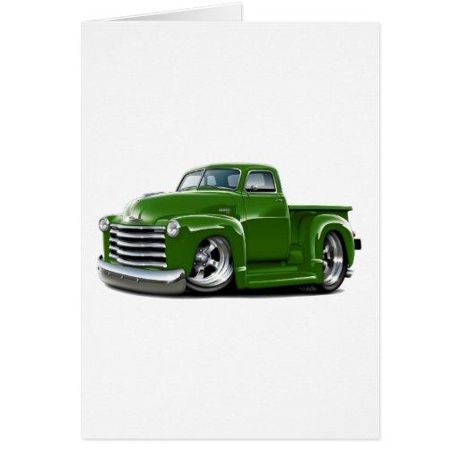 Camión verde 1950-52 de Chevy Tarjetas