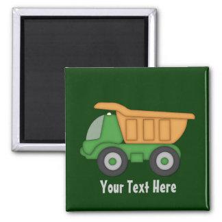 Camión verde adaptable imán cuadrado