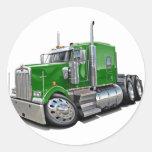 Camión verde de Kenworth w900 Etiqueta