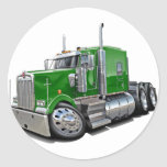 Camión verde de Kenworth w900 Etiqueta Redonda