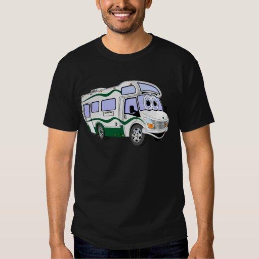 Camión verde del campista del dibujo animado playera