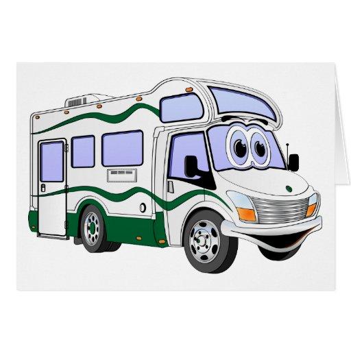 Camión verde del campista del dibujo animado felicitacion