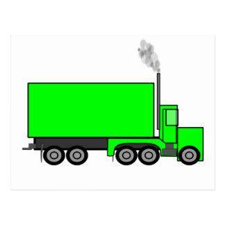 Camión verde del semi-remolque tarjetas postales