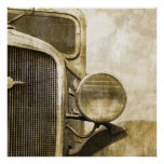 camión viejo rústico del vintage retro abstracto d poster