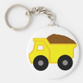 Camión volquete amarillo llavero redondo tipo pin