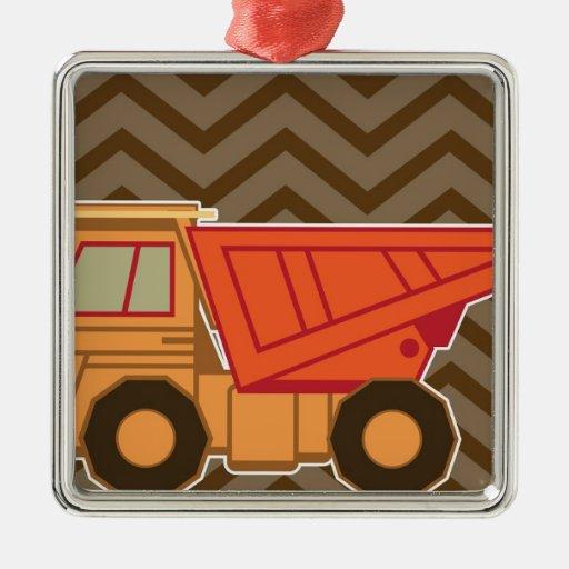 Camión volquete anaranjado del transporte - marrón adorno navideño cuadrado de metal