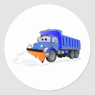 Camión volquete azul del dibujo animado del pegatina redonda