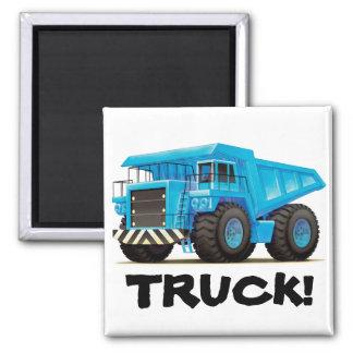 Camión volquete azul grande imán cuadrado
