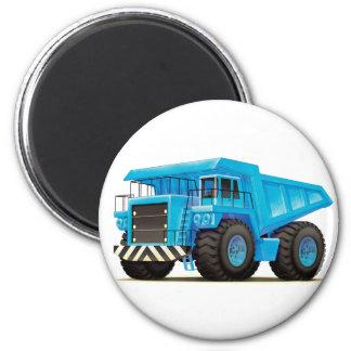 Camión volquete azul grande imán redondo 5 cm