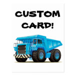 Camión volquete azul grande postales