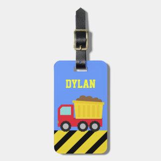 Camión volquete colorido, vehículo de la construcc etiqueta para maleta