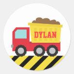 Camión volquete colorido, vehículo de la pegatina redonda