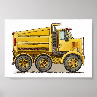 Camión volquete de la carretera póster