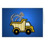 Camión volquete del amarillo del portador de anill tarjetas