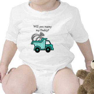 Camión volquete del portador de anillo traje de bebé