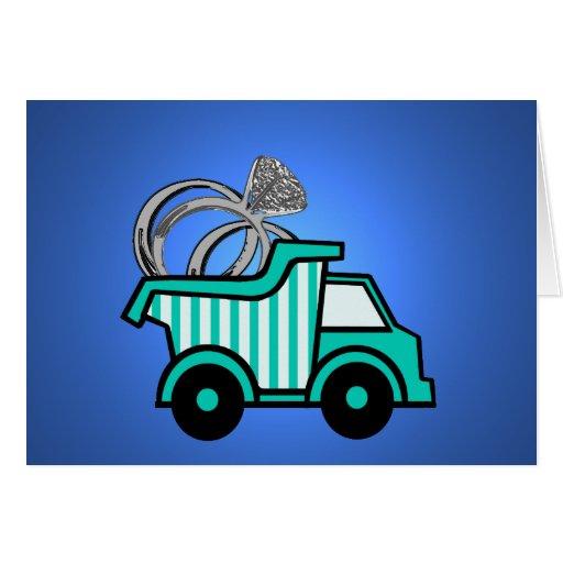 Camión volquete del portador de anillo felicitaciones