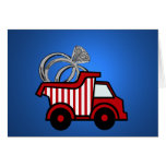 Camión volquete del rojo del portador de anillo felicitaciones