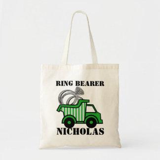 Camión volquete del verde del portador de anillo bolsa de mano