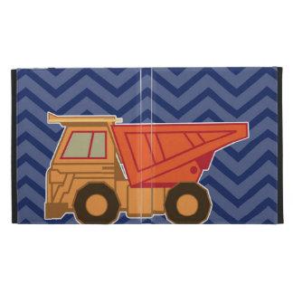 Camión volquete en el galón del zigzag - azul