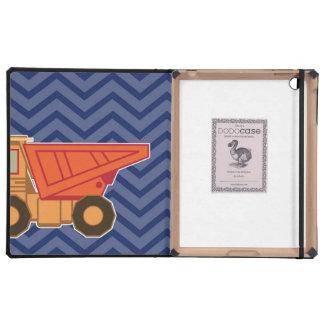 Camión volquete en el galón del zigzag - azul iPad coberturas