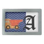 Camión volquete en el galón del zigzag - azul hebillas cinturon rectangulares