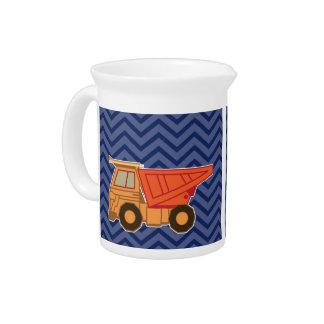 Camión volquete en el galón del zigzag - azul jarron