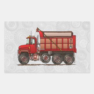 Camión volquete lindo de la grava rectangular pegatinas