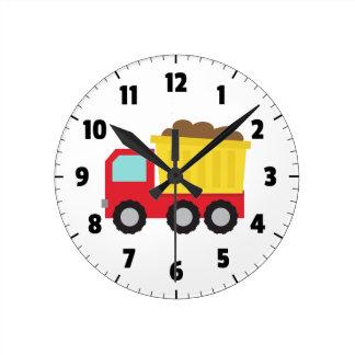 Camión volquete lindo, vehículo de la construcción reloj redondo mediano