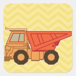 Camión volquete pesado del equipo del transporte pegatina cuadrada