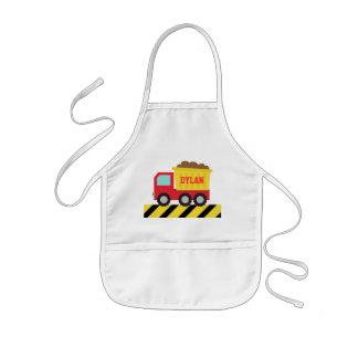 Camión volquete rojo y amarillo, para los niños delantal infantil