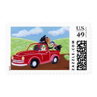Camión y laboratorios rojos sellos