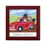Camión y pintura rojos de Labradors Cajas De Recuerdo