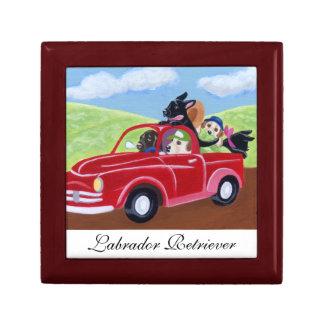 Camión y pintura rojos de Labradors Joyero Cuadrado Pequeño